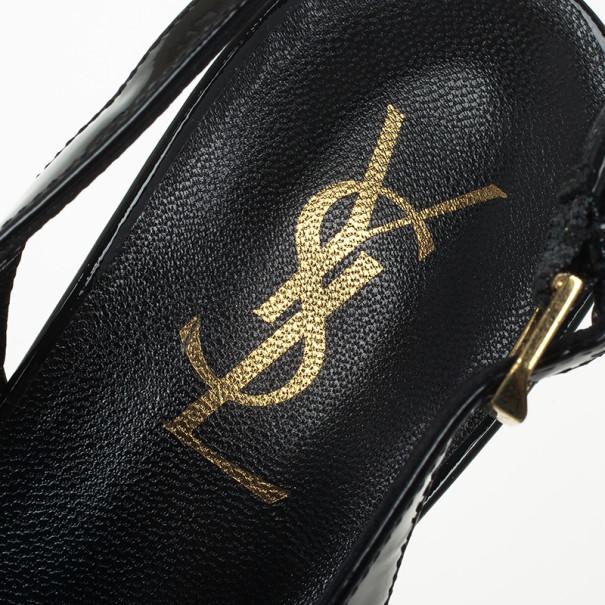 Yves Saint Laurent Black Patent Tribtoo Slingback Platform Sandals Size 37