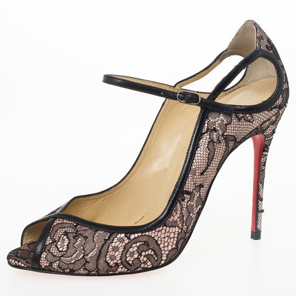Christian Louboutin Lace 1EN8 Mary Jane Pumps Size 37.5