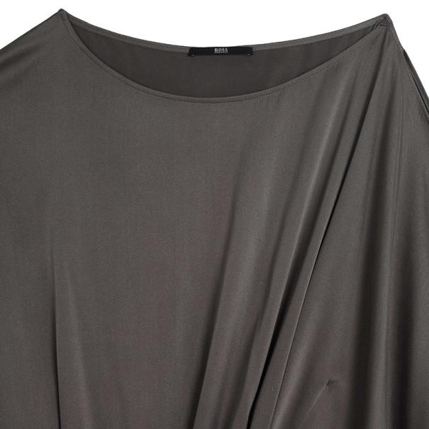 Hugo Boss Gray Dileen Silk Dress L