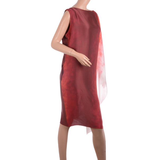 Bottega Veneta Red Ombre Silk Sleeveless Shift Dress L