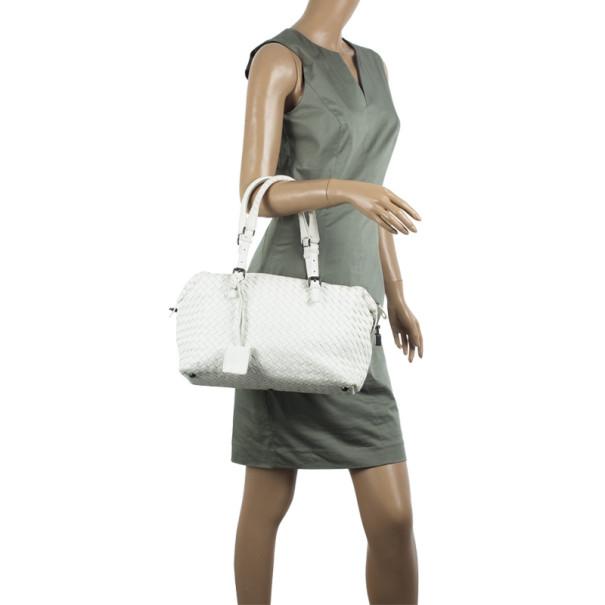 Bottega Veneta White Intrecciato Montaigne Boston Bag