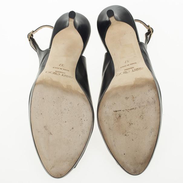 Jimmy Choo Black Leather Peep Toe Nova Slingback Sandals Size 37