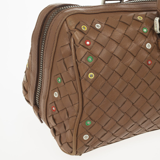 Bottega Veneta Brown Woven Mirror Embellished Satchel