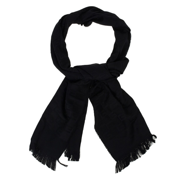 Gucci Black GG Pattern Wool & Silk Scarf