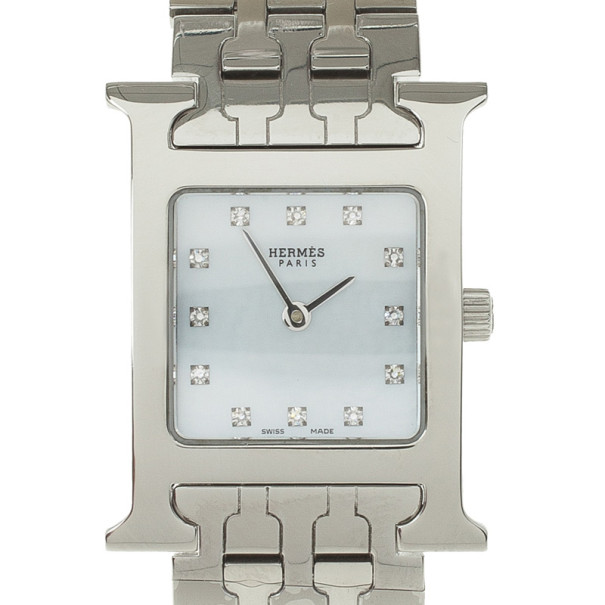Hermes H Stainless Steel Womens Wristwatch 22 MM