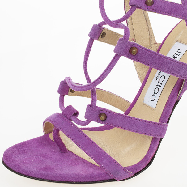 Jimmy Choo Purple Suede Meddle Cage Lace-up Sandals Size 38