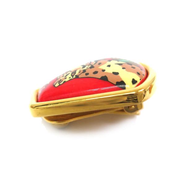 Hermes Cloisonne Tiger Red Earrings