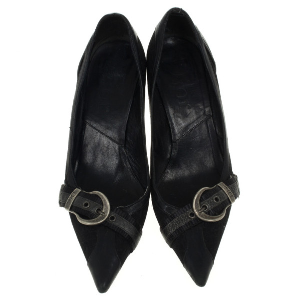 Christian Dior Black Pointed Toe Buckle Pumps Size 38.5
