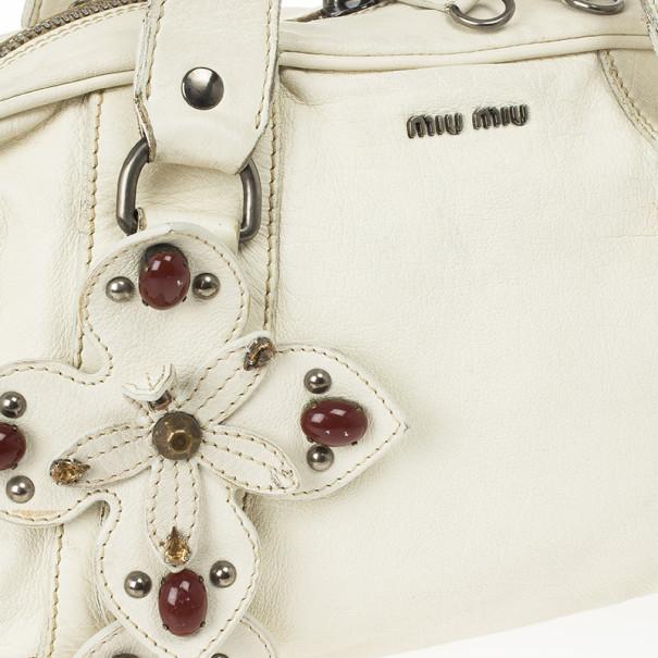 Miu Miu Vintage White Jeweled Satchel Bag
