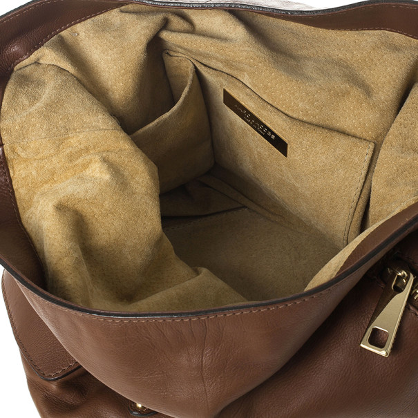 Marc Jacobs Brown Leather Amy With Zippers Hobo