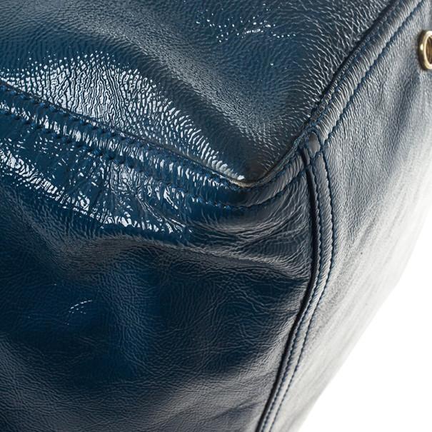 Saint Laurent Paris Blue Patent Leather Small Downtown Tote Bag