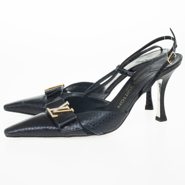 Louis Vuitton Black Embossed Pointed Toe Slingback Sandals Size 39.5