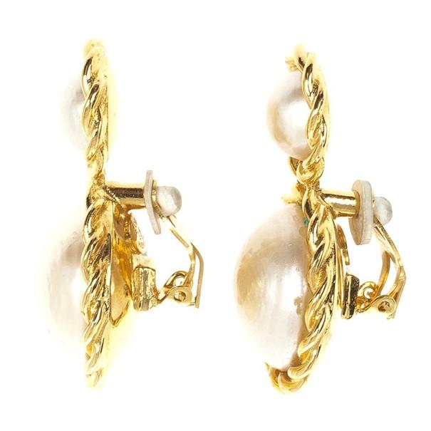 Chanel Vintage Faux Pearl Clip On Earrings