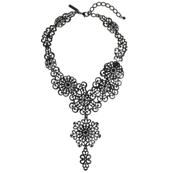 Oscar De La Renta Black Coated Filigree Necklace