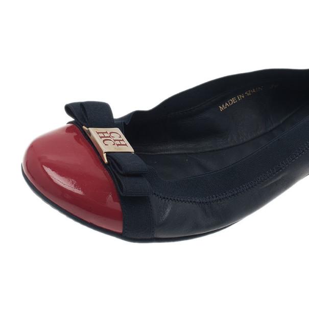Carolina Herrera Two Tone Bow Ballet Flats Size 38