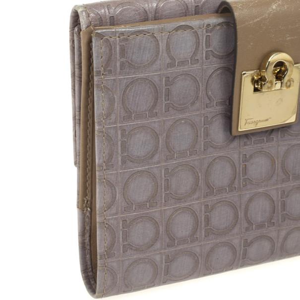 Salvatore Ferragamo Grey Gancio Embossed Flap Leather Wallet
