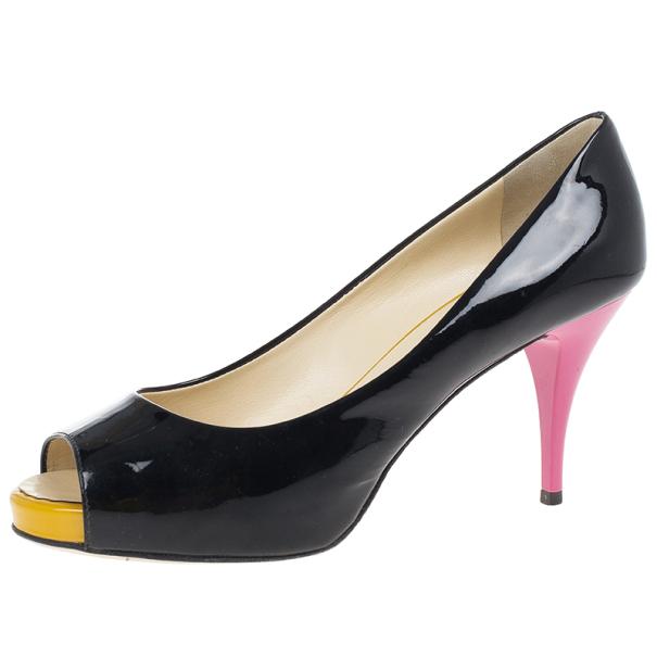 Giuseppe Zanotti Tricolor Patent Peep Toe Pumps Size 37