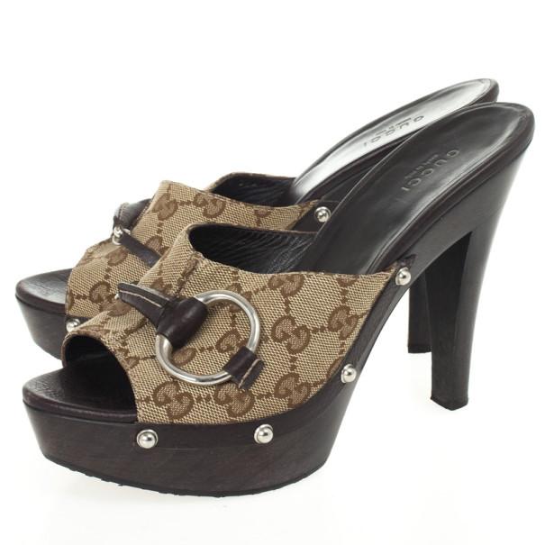 Gucci Guccissima Canvas Icon Bit High Heel Clogs Size 37.5