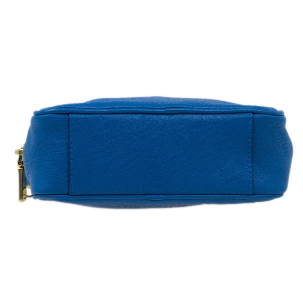 Prada Blue Calfskin Mini Zip Crossbody Bag