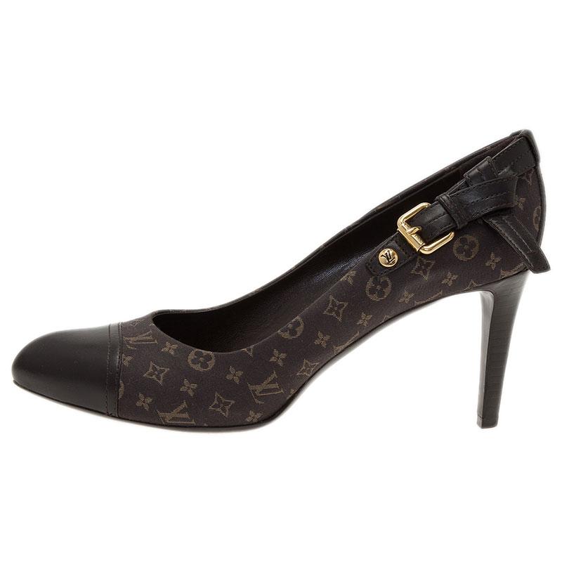 Louis Vuitton Grey Monogram Idylle Canvas and Leather Cap Toe Pumps Size 39.5