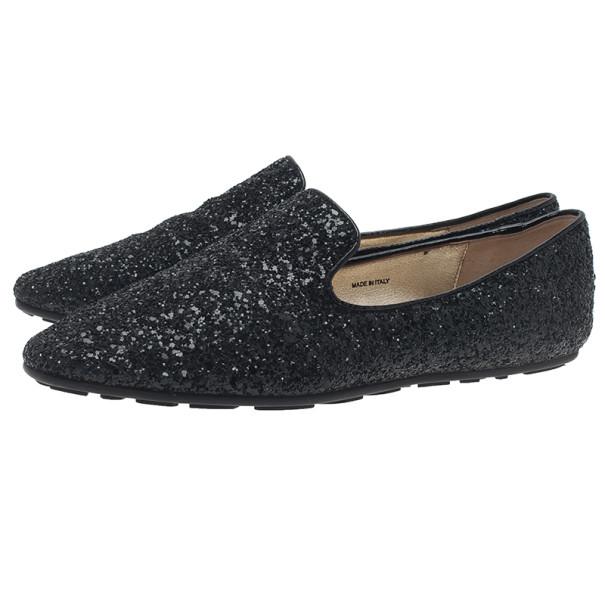 Jimmy Choo Black Coarse Glitter Wheel Smoking Slippers Size 38