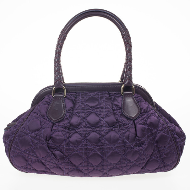 Christian Dior Purple Charming Cannage Quilted Satin Doctor's Tote Bag