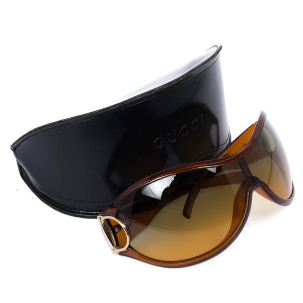 Gucci Brown Horsebit Shield Women Sunglasses