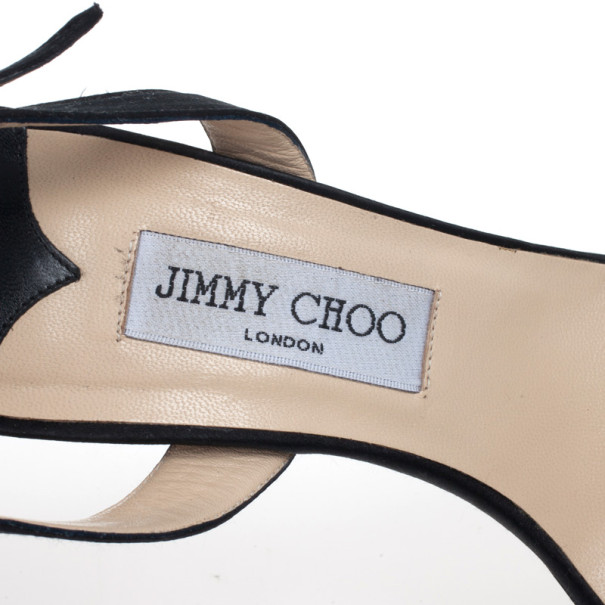 Jimmy Choo Black Satin Slingback Jag Sandals Size 41