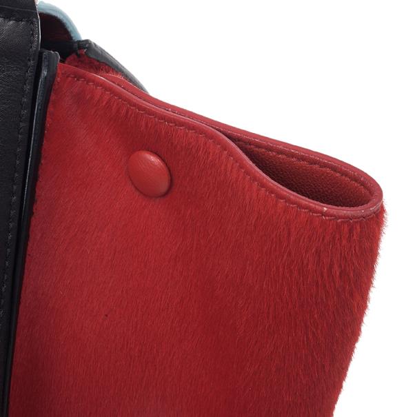 Celine Tricolor Medium Pony Hair Trapeze Bag