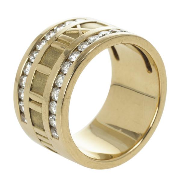 Tiffany & Co. Atlas Vintage Diamond Yellow Gold Ring Size 56
