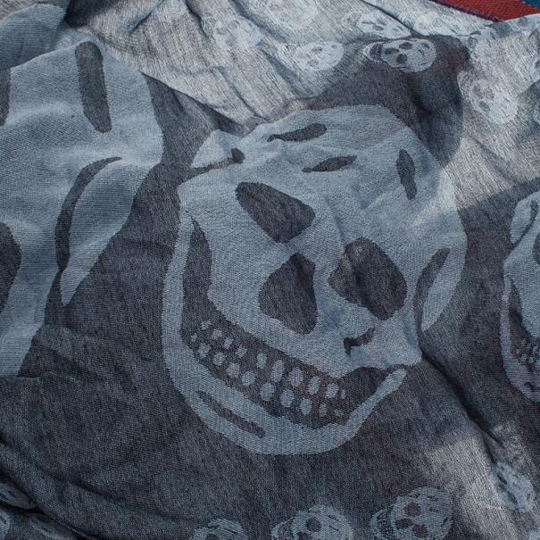 Alexander McQueen Grey Unisex Modal Cashmere Skull Triangle Kefia