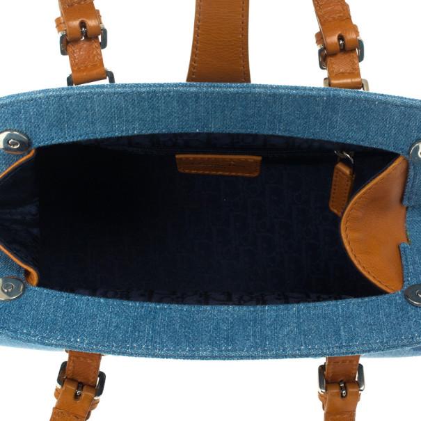 Dior Blue Denim Floral Frame Satchel Flap bag