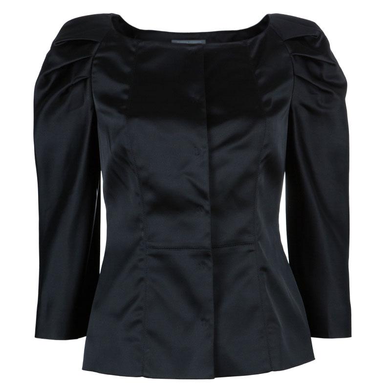 Alberta Ferretti Black Satin Blazer M