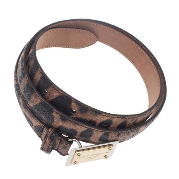 Dolce and Gabbana Leopard Print Dauphine Leather Belt 75CM