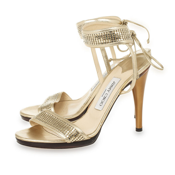 Jimmy Choo Gold Ankle Wrap Sandals Size 39