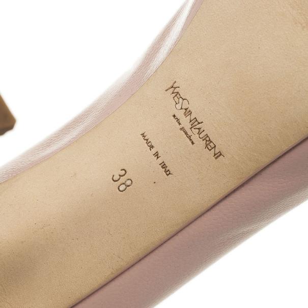 Saint Laurent Paris Pink Leather Tribtoo Platform Pumps Size 38