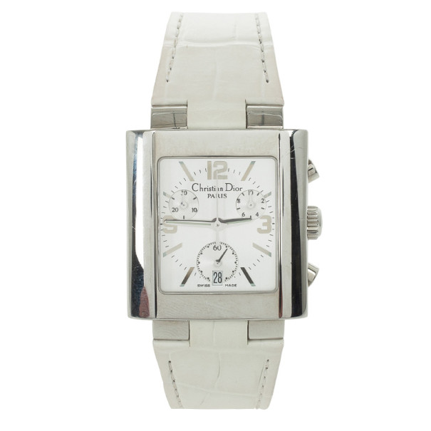 Dior Riva SS Leather Chronograph Womens Wristwatch 31MM