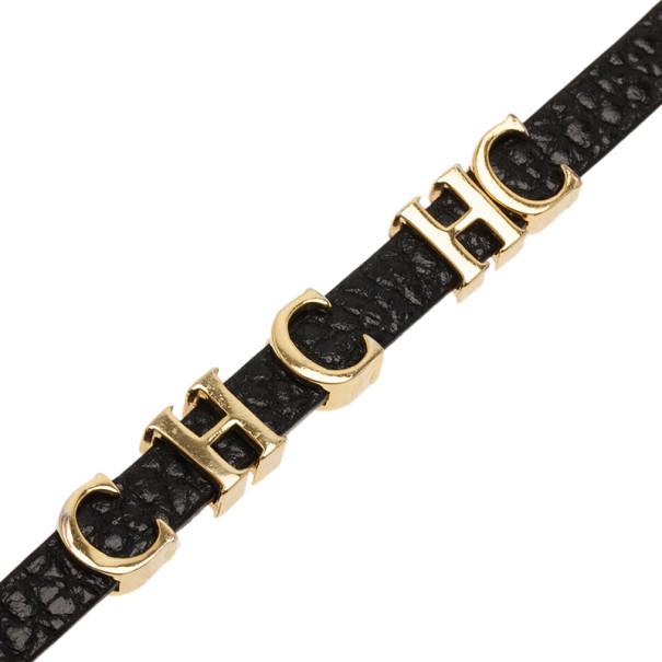 Carolina Herrera Double Wrapped Black Leather Bracelet 18CM