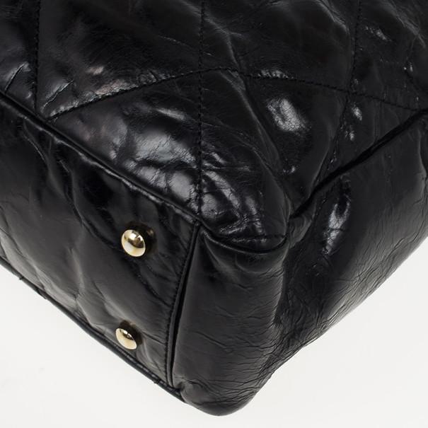 Chanel Black Glazed Distressed Leather Burgundy Lambskin Portobello Large Tote Bag