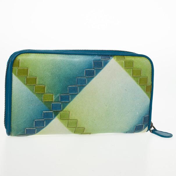 Bottega Veneta Blue Green Leather Intrecciato Nappa Wallet