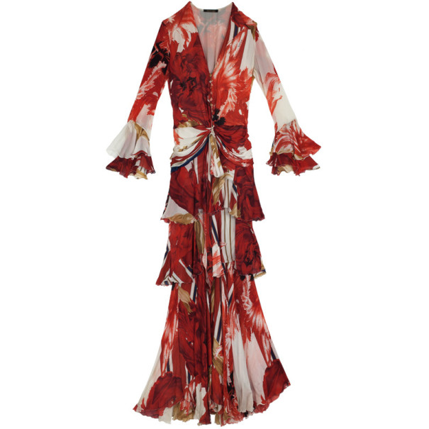 Roberto Cavalli Tiered Floral Gown S
