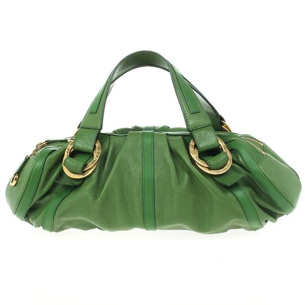 Bvlgari Green Leather Polly Bag