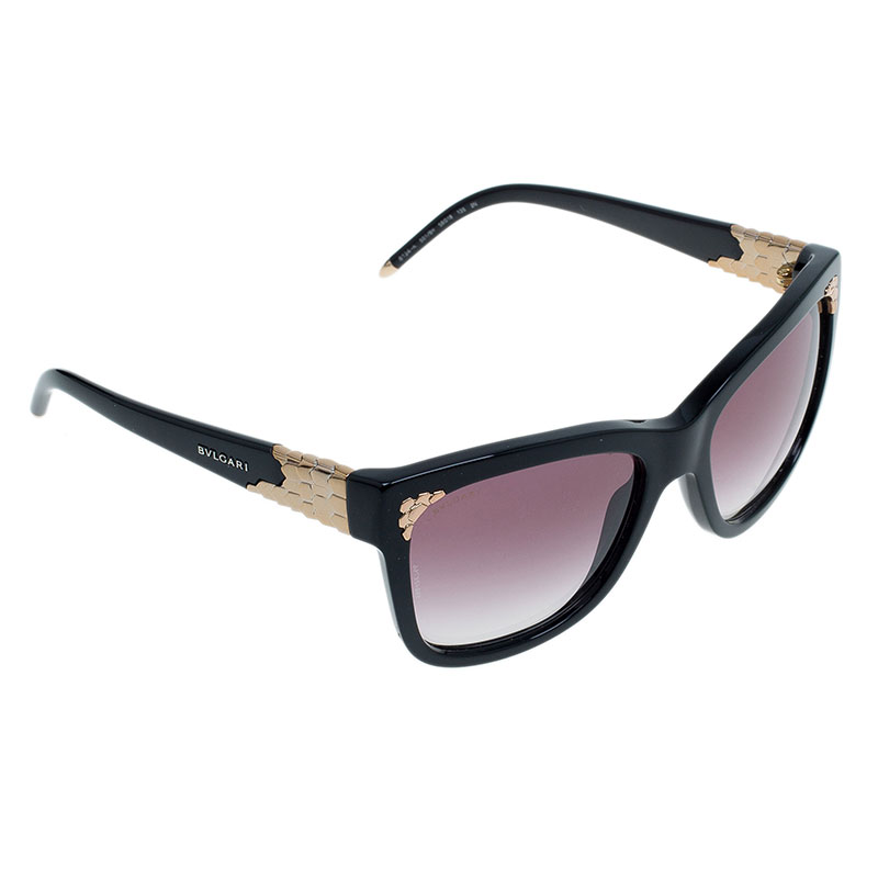 Bvlgari Black 501/8H Gold Plated Square Sunglasses