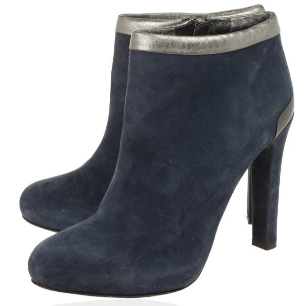 Fendi Blue Suede Ankle Boots Size 39.5