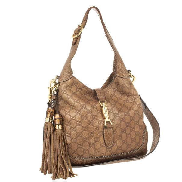 Gucci Tan Guccissima Leather New Jackie Medium Shoulder Bag