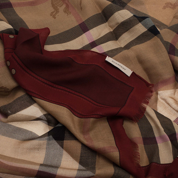 Burberry Novacheck Modal and Cashmere Red Stole