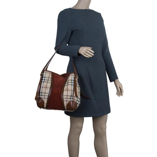 Burberry Plum Canvas Haymarket Check Suede Panel Small Shoulder Bag