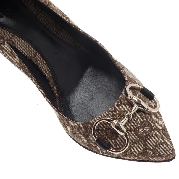 Gucci Beige Guccissima Canvas Horsebit Pointed Toe Pumps Size 35.5