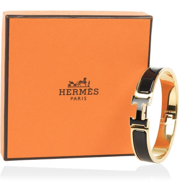 Hermès Clic H Black Enameled Bracelet