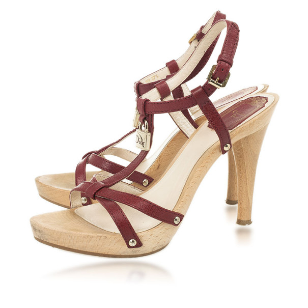 Christian Dior Maroon Leather 'Dior Padlock' Sandals Size 37.5